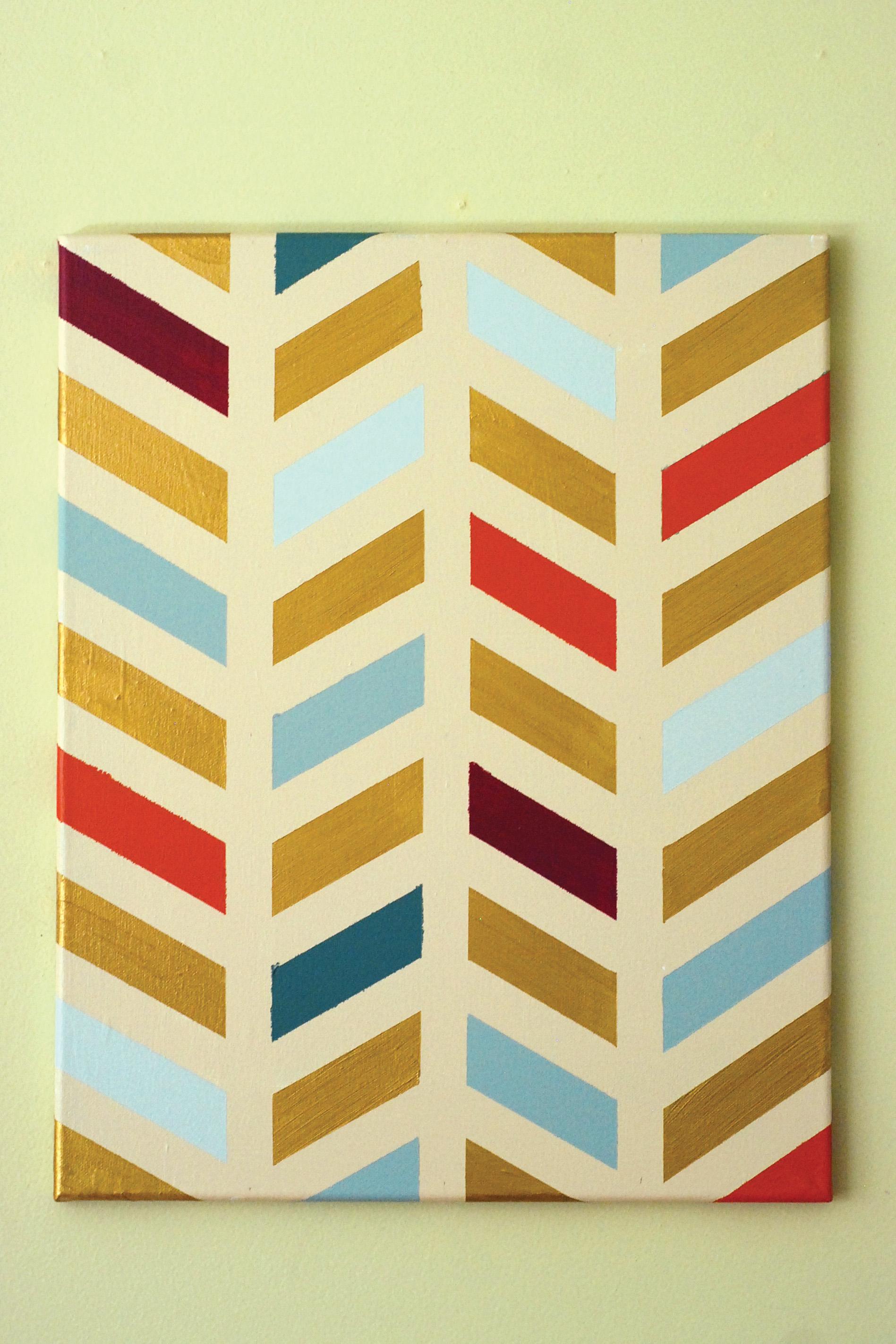 Easy DIY Chevron Painted Canvas – One Cherry Tree Lane