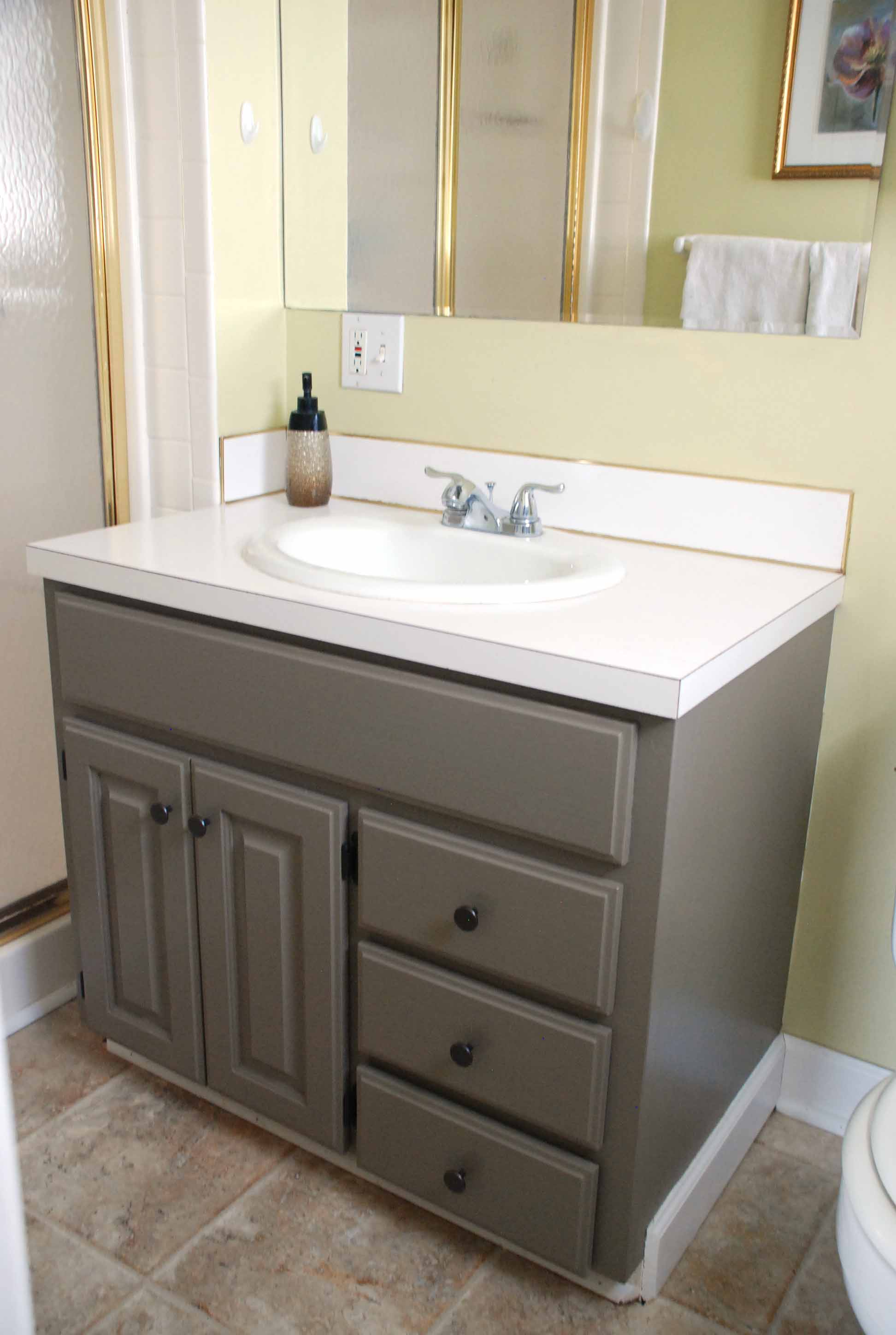 Painting A Bathroom Vanity And Cabinet And Spray Painting Hardware One Cherry Tree Lane